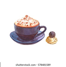 Watercolor coffee cup with cake isolated on a white background illustration.