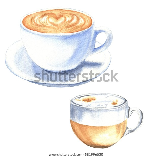 Watercolor coffee cups, set of hand drawn drink illustrations, isolated on white background. Cappuccino food design.