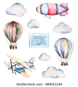 Watercolor collection with air balloons, clouds,airship and the plane in pastel colours.Handpainted air ballons beautifully decorated on white background,pastel clouds and other aircrafts .Pastel set