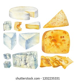 Watercolor collection of different types of cheese. Hand painted illustration isolated on white background