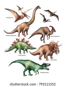 Watercolor collection of dinosaurs isolated on white background. Hand painted herbivorous and predatory reptiles of the prehistoric period