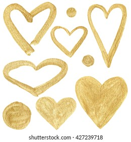 Watercolor collection of golden hearts.
