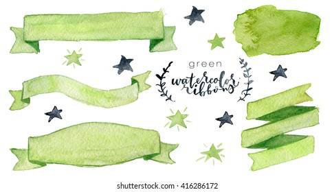 Watercolor collection with green ribbons, label, floral elements, stars. Hand drawn watercolor design elements isolated on white background