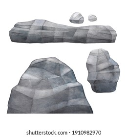 Watercolor collection of grey faceted stones. Hand painted design isolated on white background
