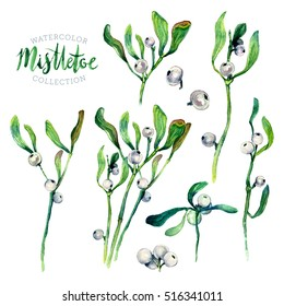 Watercolor Collection of Mistletoe Branches Isolated on White. Traditional Christmas Winter Plant with Green Leaves and White Berries. Kissing Ball Decoration. DIY Clip Art.