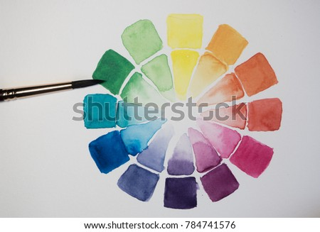 Watercolor Color Wheel Bright Primary Secondary Stock Illustration
