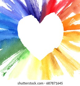 Watercolor color wheel heart frame. Greeting card with copyspace for your design