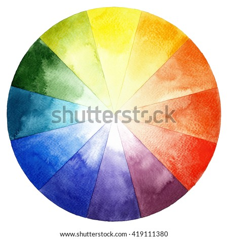 Watercolor Color Wheel Primary Secondary Tertiary Stock Illustration