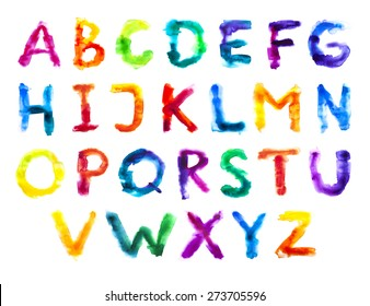 Watercolor colorful alphabet. Grunge handwritten type set. Rough painted font. Rainbow letters.