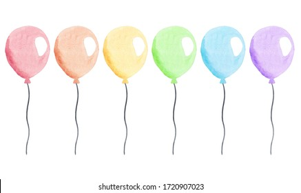 watercolor colorful balloons with strings set isolated on white background for party invitations and cards decorations