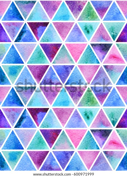 Watercolor colorful blue, purple, green and white abstract seamless pattern