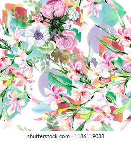 Watercolor colorful bouquet alstroemeria flower. Floral botanical flower. Seamless background pattern. Fabric wallpaper print texture. Aquarelle wildflower for background, texture, wrapper pattern.