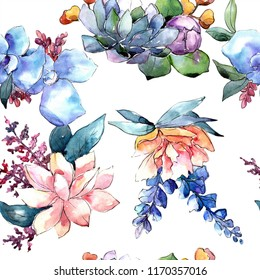 Watercolor colorful bouquet flower. Floral botanical flower. Seamless background pattern. Fabric wallpaper print texture. Aquarelle wildflower for background, texture, wrapper pattern, border.