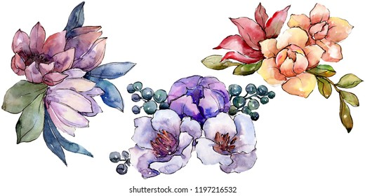 Watercolor colorful bouquet flower. Floral botanical flower. Isolated illustration element. Aquarelle wildflower for background, texture, wrapper pattern, frame or border.
