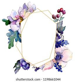 Watercolor colorful bouquet flower. Floral botanical flower. Frame border ornament square. Aquarelle wildflower for background, texture, wrapper pattern, frame or border.