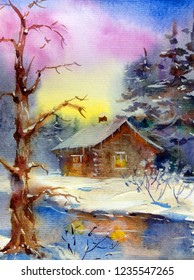 Watercolor colorful bright textured abstract background handmade .  Landscape . Painting of the hut in the winter forest  , made in the technique of watercolors from nature