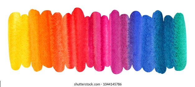 Watercolor colorful brush stroke. Rainbow colors stripes. Long, elongated shape with uneven edges. Colorful watercolour stains background, texture. Aquarelle border, frame, banner template.