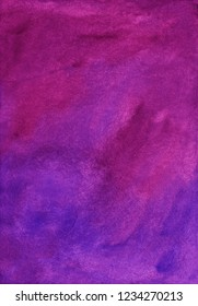 Watercolor colorful deep fantasy overlay. Aquarelle violet, pink, purple gradient texture on paper. Bright deep watercolour backdrop. Vintage abstract background. Wash drawing soft backdrop. Beauty.