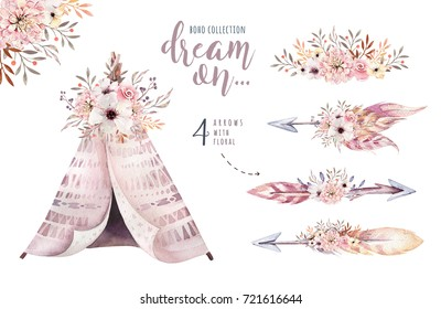 Watercolor colorful ethnic set of arrows, teepee and flowers in native American style.Tribal Navajo isolated illustration ornament on white background. Indian,