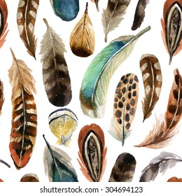 watercolor colorful feather background, hand drawn illustration