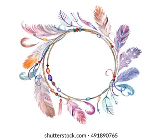 Watercolor colorful feathers frame. Hand drawn boho print for wedding card, invitation, poster, wrapping, wallpaper, fabric