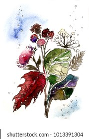 Watercolor colorful flovers