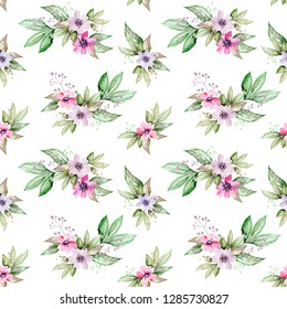 Watercolor colorful flower and leaves hand drawn illustration seamless pattern on white background, for fabrics, Wallpaper, textiles, paper