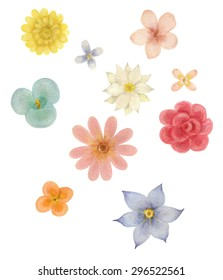 Watercolor of colorful flowers