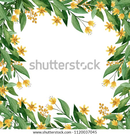 Watercolor Colorful Hand Painted Herbs Green Stock Illustration
