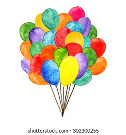 Watercolor colorful holiday balloons closeup isolated on white background. Hand painting on paper