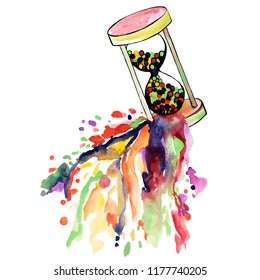 Watercolor colorful illustration of falling hourglass