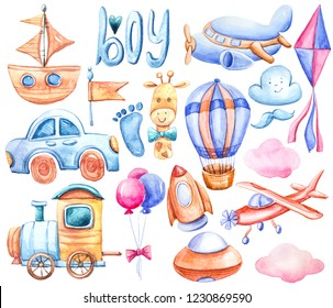 Watercolor colorful kids set with transport: car, airplane, train, sky rocket, ship. Cartoon illustration on white background