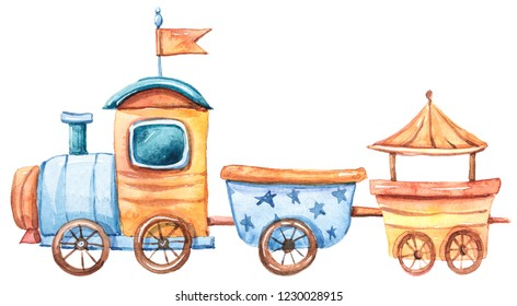 Watercolor colorful locomotive with a trailer. Illustration on white background. It's a boy illustration.