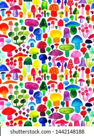 Watercolor colorful mushroms pattern  natural background seamless pattern