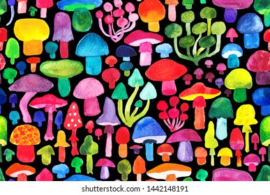 Watercolor colorful mushroms pattern  natural background seamless pattern