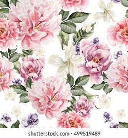 Watercolor colorful pattern with flowers peony, anemone. illustrations
