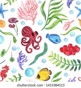 Watercolor colorful seamless pattern of underwater scene. Made of green and blue seaweed, leaves, pink, orange, purple corals, sea horses,  air bubbles, yellow fish, octopuses on the white background