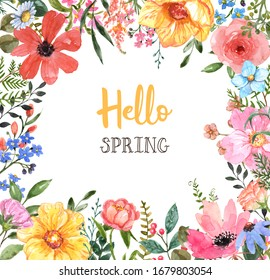 Watercolor colorful spring floral border. Hand drawn pink, yellow and blue wild flowers and greenery leaf, foliage on white background with space for text. Frame template for cards