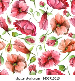 watercolor colorfull seamless poppy pattern