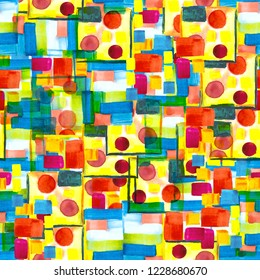 Watercolor coloured texture in futuristic bauhaus style. A seamless pattern with abstract patchwork background. Red, blue, yellow and green brush strokes, drops, blots for scrapbooking