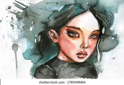 Watercolor colur portrait young girl.
