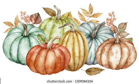 Watercolor composition of colorful pumpkins and autumn leaves. Botanical illustration isolated on white background. Halloween and Thanksgiving day composition of green, blue, orange, yellow pumpkins.