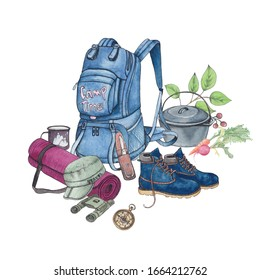 Watercolor composition elements with things for camping and hiking. Drawn by hand, isolated on a white background. For design of thematic groups, creation of unique cards, book illustrations
