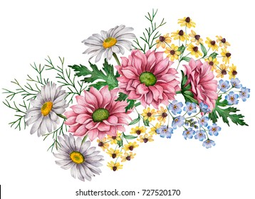 Watercolor composition of flowers, hand drawn floral illustration, bouquet with chamomiles, chrysanthemums and rudbeckia flowers isolated on a white background.