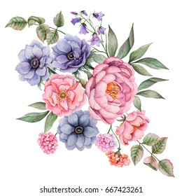 Watercolor composition of flowers. Hand painted floral illustration isolated on white background. Bouquet with rose, anemones, peony, bluebells, geranium and leaves.
