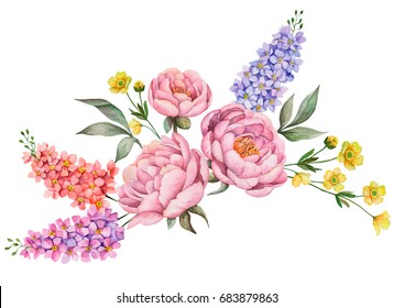 Watercolor composition with flowers. Hand painted floral illustration isolated on white background. Bouquet with peonies, buttercups, delphiniums and leaves.