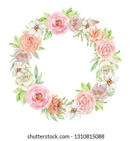 Watercolor composition of flowers on white background. Frame, wreath, border in pastel soft colors