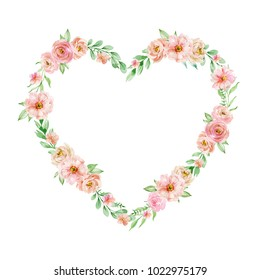 Watercolor composition of flowers in shape of a heart on white background. Frame, wreath, border in pastel soft colors