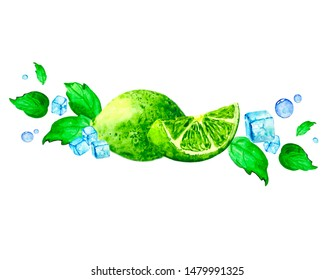 Watercolor composition with fresh lime, mint and ice pieces. Illustration for postcards, tea and lemonade packaging, as well as design decorations on the theme of nature and cold drinks.