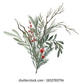 Watercolor composition with green winter leaves, branches, berries, eucalyptus. Christmas bouquet isolated on white background. Aesthetic illustration for wedding, business card, promotions